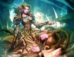breasts death elf fingerless_gloves flower forest gauntlets genzoman gloves green_hair kneeling knees leaf mound_of_venus nature night_elf pauldron pauldrons pointy_ears sad sandals seed solo thorns toes warcraft white_eyes wide_hips world_of_warcraft