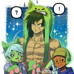 ! 1girl 2boys ? abs animal_ears animal_hood black_eyes black_hair broly_(dragon_ball_super) cat_ears cat_hood cat_paws colored_skin dragon_ball dragon_ball_super dragon_ball_super_broly fake_animal_ears green_skin hood medium_hair multiple_boys muscular muscular_male nipples pants paws pectorals scar scar_on_cheek scar_on_chest scar_on_face shirtless skin_tight spiky_hair spoken_exclamation_mark spoken_question_mark stomach tarutobi tight tight_pants