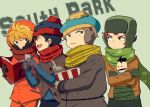 baby blonde_hair blue_eyes book brothers brown_eyes child earmuffs eric_cartman gloves green_eyes hat ike_broflovski kenny_mccormick kyle_broflovski laphy male multiple_boys open_book open_mouth scarf short_hair siblings south_park stan_marsh teeth