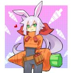 ashe blush bodysuit bunny_ears capcom carrot green_eyes jacket ponytail ribbon rockman rockman_zx shigehiro_(artist) silver_hair smile