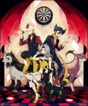 2boys black_hair checkered checkered_floor coin crossed_legs dartboard darts elite_four formal giima_(pokemon) grin hand_in_hair high_heels highres kagetsu_(pokemon) karin_(pokemon) legs_crossed liepard long_hair mightyena multiple_boys pokemon pokemon_(creature) pokemon_(game) pokemon_black_and_white pokemon_bw pokemon_gsc pokemon_rse scarf shoes short_hair silver_hair sitting smile standing stool suit umbreon wink yuuichi_(bobobo)