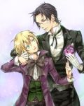amber_eyes black_hair blonde_hair blue_eyes claude_faustus dr. flower glasses gloves gold_eyes kuroshitsuji pink_rose rose short_hair yellow_eyes