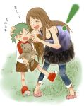 2girls ayase_asagi brown_hair child duralumin green_hair happy koiwai_yotsuba laughing long_hair multiple_girls quad_tails stuffed_animal stuffed_toy teddy_bear yotsubato!