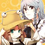 adjusting_hat blonde_hair braid bust eyes green_eyes hand_on_hat hat izayoi_sakuya maid maid_headdress moriya_suwako multiple_girls red_eyes silver_hair touhou twin_braids yuki_(popopo)
