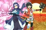 adapted_costume alternate_costume black_hair blue_eyes blue_hair fan green_eyes gunbai hat hood japanese_clothes katana kote kumoi_ichirin multiple_girls murasa_minamitsu saemon saemon_(tonpura) sailor_hat samurai sheath sheathed short_hair sode sword takeda_shingen thighhighs touhou uesugi_kenshin unzan war_fan weapon