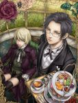 amber_eyes black_hair blonde_hair blue_eyes claude_faustus dr. flower food fruit glasses gold_eyes kuroshitsuji multicolored_rose pink_rose red_rose rose short_hair shorts tea thigh-highs thighhighs white_rose yellow_eyes