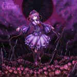 dress flower hairband highres katana komeiji_satori nail_polish pink_rose purple_eyes purple_hair rose skyspace solo sword third_eye thorn thorns touhou violet_eyes weapon