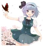 1girl bowtie butterfly cherry_blossoms cowboy_shot dutch_angle frills grey_eyes hair_ribbon hairband konpaku_youmu looking_at_viewer open_mouth outstretched_arm petals puffy_sleeves ribbon saiga_yuu short_hair short_sleeves silver_hair skirt solo standing touhou tree vest white_background