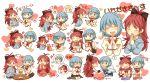 blonde_hair blue_eyes blue_hair blush bow candy chocolate closed_eyes eyes_closed fang food fruit hair_bow hands_together heart incipient_kiss lollipop magical_girl mahou_shoujo_madoka_magica miki_sayaka open_mouth parfait pocky pocky_kiss ponytail red_eyes red_hair redhead sakura_kyouko shared_food spoken_heart strawberry tea thought_bubble tomoe_mami translated translation_request various_positions whipped_cream zawameki