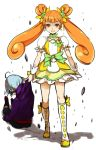1girl beaten boots brown_hair choker cure_rosetta dokidoki!_precure double_bun dragging earrings flower jewelry long_hair looking_at_viewer magical_girl minatsuki_randoseru open_mouth precure skirt smile twintails wrist_cuffs yotsuba_alice
