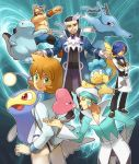 apron aqua_hair beard black_hair blue_eyes blue_hair bowtie brown_eyes corn_(pokemon) cravat enu_(spinal) facial_hair gem green_eyes gym_leader hair_over_one_eye jacket kasumi_(pokemon) kasumi_(pokemon)_(hgss) kingdra lanturn luvdisc mask maximum_kamen mikuri_(pokemon) multicolored_hair orange_hair panpour pokemon pokemon_(game) pokemon_black_and_white pokemon_bw pokemon_dppt pokemon_gsc pokemon_hgss pokemon_rse quagsire swimsuit two-tone_hair waiter white_hair