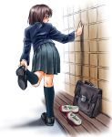 blazer brown_eyes brown_hair from_behind leaning_forward original pizza_man pleated_skirt putting_on_shoes school_bag school_uniform shoes skirt solo uwabaki