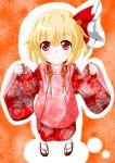 blonde_hair face hair_ribbon hifu highres japanese_clothes kimono looking_up red_eyes ribbon roco_(katsuya1011) rumia sandals short_hair smile solo tabi the_embodiment_of_scarlet_devil touhou youkai