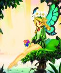 blush braid flower head_wreath long_hair mercedes odin_sphere pointy_ears red_eyes sitting twin_braids twintails vanillaware water wings