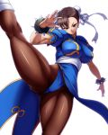bracelet breasts brown_eyes brown_hair bun_cover capcom china_dress chinese_clothes chun-li double_bun eto flexible highres jewelry kick kicking large_breasts leg_up legs muscle muscles pantyhose short_hair solo spiked_bracelet spikes street_fighter thick_thighs thighs