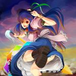 :d adjusting_hat apron ass blue_hair blush boots bowtie bracelet cloud clouds cross-laced_footwear dress feathers food frills from_behind fruit gradient_hair happy hat highres hinanawi_tenshi jewelry kneepits lace-up_boots leg_up long_hair looking_back mine_(wizard) multicolored_hair open_mouth orange_hair peach purple_hair red_eyes smile solo sword sword_of_hisou tassel touhou very_long_hair weapon