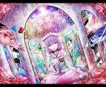 bad_id flower glass heart kaenbyou_rin komeiji_koishi komeiji_satori koohee mosaic mosaic_art multiple_girls pillar rain reiuji_utsuho sibanoue stained_glass third_eye touhou window