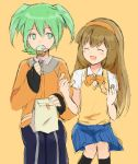 1boy 1girl barufoa blush brown_hair closed_eyes fei_rune food green_eyes green_hair hairband inazuma_eleven_(series) inazuma_eleven_go inazuma_eleven_go_chrono_stone long_hair nanobana_kinako open_mouth rough skirt
