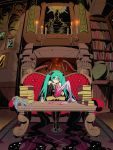 aqua_eyes aqua_hair blood book books candle couch cthulhu_mythos cup detached_sleeves fireplace hatsune_miku highres indoors knife long_hair lovecraft mask maxgonta necktie necronomicon octopus sitting solo tea tentacle tentacles twintails very_long_hair vocaloid