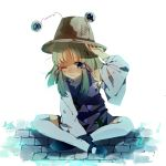 adjusting_hat blonde_hair blue_eyes detached_sleeves hat highres indian_style injury mary_janes moriya_suwako remireiha scar scratches shoes sitting solo thigh-highs thighhighs torn_clothes touhou wavy_mouth white_legwear wince wink