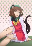animal_ears bare_legs brown_eyes brown_hair cat_ears cat_tail chen earrings fang fingernails hat headphones headphones_around_neck highres hoop_earrings jewelry multiple_tails nail_polish open_mouth short_hair solo spikewible tail touhou