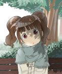 :o bench brown_eyes brown_hair head_tilt idolmaster la-do park park_bench scarf shadow solo takatsuki_yayoi tree tree_shade twintails
