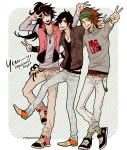 3boys bandana bandanna belt black_eyes black_hair brown_eyes brown_hair casual contemporary date_masamune date_masamune_(sengoku_basara) eyepatch facial_mark green_eyes grin hair_ornament hairclip jacket jeans jewelry long_hair long_sleeves maeda_keiji male multiple_boys necklace open_mouth ponytail sarutobi_sasuke scrunchie sengoku_basara sharp_teeth shoes smile sneakers temari114 v vest wink