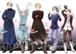 5boys axis_powers_hetalia bird blonde_hair blue_eyes boots character_name danish_flag denmark_(hetalia) finland_(hetalia) finnish_flag glasses gloves iceland_(hetalia) icelandic_flag military military_uniform multiple_boys necktie norway_(hetalia) norwegian_flag puffin romion sailor short_hair smile sweden_(hetalia) swedish_flag uniform violet_eyes wink