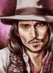 brown_eyes brown_hair facial_hair fedora hat johnny_depp male mustache nidoro original realistic solo