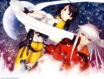 bakuretsu_tenshi black_hair blue_eyes gray_hair gun jo long_hair meg moon red_eyes scarf sky stars weapon white_hair