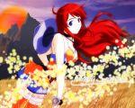 bakuretsu_tenshi blue_eyes clouds hat jpeg_artifacts long_hair meg red_hair redhead scenic sky