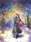 black_hair bleach highres hug huge_filesize japanese_clothes kuchiki_rukia kurosaki_ichigo orange_hair scarf snow traditional_media watercolor_(medium) yuria-chu