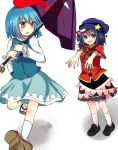 ? bad_perspective beret black_hair blue_eyes blue_hair dress geta geung_si hat heterochromia jiangshi karakasa_obake miyako_yoshika multiple_girls ofuda outstretched_arms pale_skin running short_hair shromann sketch skirt tatara_kogasa tongue touhou umbrella zombie_pose