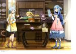 4girls absurdres animal_ears artist_request asuna_(sao) blue_hair cat_ears cat_tail cooking dress highres leafa long_hair multiple_girls sinon_(sao-alo) sword_art_online tail yuuki_(sao)