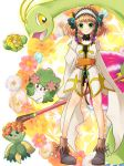 bellossom bike_shorts braid brown_hair choker coat creature crossover flower fumomomomo green_eyes hair_flower hair_ornament hairband leia_roland meganium pokemon shaymin shoes short_hair skiploom smile tales_of_(series) tales_of_xillia wand