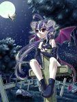 ahoge butterfly demon graveyard horns loli moon purple_hair red_eyes stars tail wings