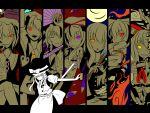 absurdres column_lineup fan flandre_scarlet fujiwara_no_mokou highres houraisan_kaguya ibuki_suika kirisame_marisa multiple_girls red_eyes remilia_scarlet saigyouji_yuyuko sanatan touhou yakumo_yukari