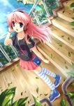 ayakaze_ryuushou blue_eyes hair_ribbon headphones highres leaf long_hair open_mouth original pink_hair ribbon shoes skirt sneakers stairs striped striped_legwear thigh-highs thighhighs water wind
