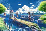 boat brown_hair cloud grass inumaru_(sougen_no_marogoya) landscape nature pier railing school_uniform sky tram tree water