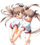 2girls blush brown_eyes brown_hair gym_uniform hair_ornament hair_ribbon hashimoto_takashi long_hair open_mouth shoes twintails