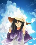 1girl black_hair blue_sky brown_eyes clouds dress hat kinugoshi_(r_510) long_hair mikasa_ackerman poncho revision shingeki_no_kyojin sky solo sun_hat