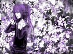 black_eyes flower gloves heterochromia highres kamui_gakupo long_hair male monochrome ponytail purple purple_eyes purple_hair solo vocaloid yokan
