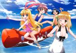absurdres amae_koromo animal_ears barefoot bikini blonde_hair blue_eyes blue_hair blush breasts brown_eyes brown_hair cleavage cloud fukuji_mihoko highres ikeda_kana inflatable_raft megami miyanaga_saki multiple_girls ocean official_art one-piece_swimsuit red_eyes saki school_swimsuit sky swimsuit swimsuits water wink