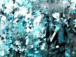 black_eyes blue_hair flower gloves heterochromia highres kaito male monochrome scarf solo vocaloid yokan
