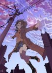 absurdres bad_id boots brown_eyes brown_hair coat g_scream hands highres legs lens_flare original short_hair skirt solo thigh-highs thighhighs