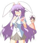 /\/\/\ 2girls animal_ears blush bunny_ears highres hot_sauce inaba_tewi kugui_kiyunemu long_hair multiple_girls necktie pink_eyes pleated_skirt purple_eyes purple_hair reisen_udongein_inaba shaved_ice skirt surprised tabasco tears touhou very_long_hair