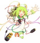 1girl boots dress electricity erokosei green_hair hair_ornament highres horizontal_stripes looking_at_viewer original outstretched_arms pantyhose plug prong solo spread_arms striped striped_legwear usb wire yellow_eyes