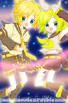 blonde_hair kagamine_len kagamine_rin miuru open_mouth short_hair twins vocaloid