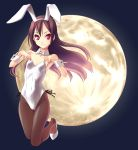 armpits brown_hair bunny_ears bunny_girl bunnysuit flat_chest highres long_hair moon norizou_type-r original pantyhose rabbit_ears red_eyes solo