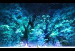 bear black_hair blue forest glowing glowing_eyes jimu_kaji kajimiya_(kaji) nature original robe scenery sitting snake solo tanuki tree yellow_robe